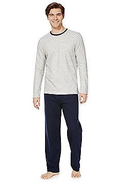 F&F Striped Top Loungewear Set - Cream & Blue