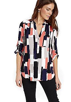 Wallis Brushstroke Print Y-Neck Shirt - Navy