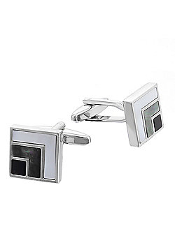 Rhodium-plated Mother of Pearl & Onyx Cufflinks