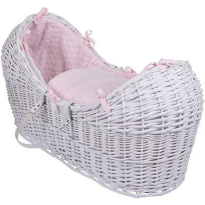 Clair de Lune White Noah Pod Moses Basket (Marshmallow Pink)