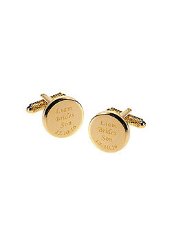 Personalised and Engraved Brides Son Gold Plated Round Wedding Cufflinks