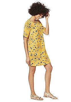 Only Butterfly Floral Print T-Shirt Dress - Mustard