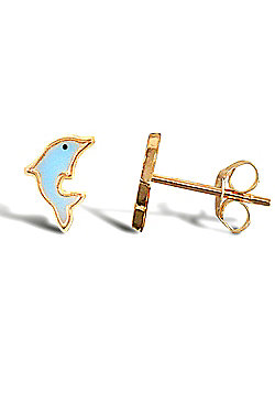 Ladies 9ct Gold Blue Enamel Dolphin Stud Earrings