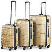 VonHaus ABS Hard Shell Luggage 4 Wheel Spinner Set of 3 Piece - Champagne
