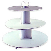 3 Tier Card Cupcake Stand White