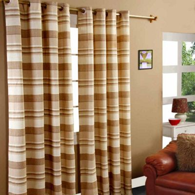Homescapes Cotton Morocco Striped Beige Curtain Pair, 54 x 54
