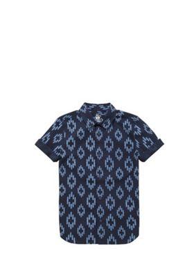 F&F Ikat Print Short Sleeve Shirt Navy 9-10 years