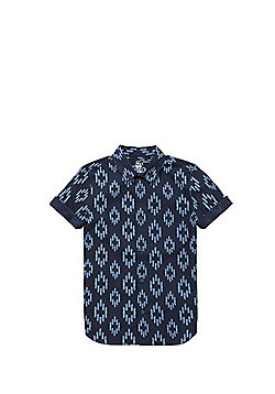 F&F Ikat Print Short Sleeve Shirt - Navy