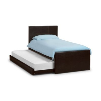 Happy Beds Cosmo Faux Leather Guest Bed and Underbed Trundle - Brown - 3ft Single