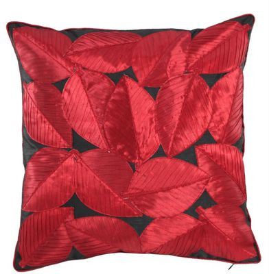 Black and Hot Chilli Red Tropical Leaves Cushion Bedroom Living Area Decor