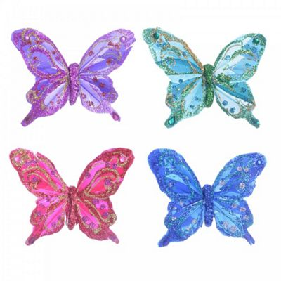 Set of Four Vibrant Feather Clip On Butterfly Christmas Decorations