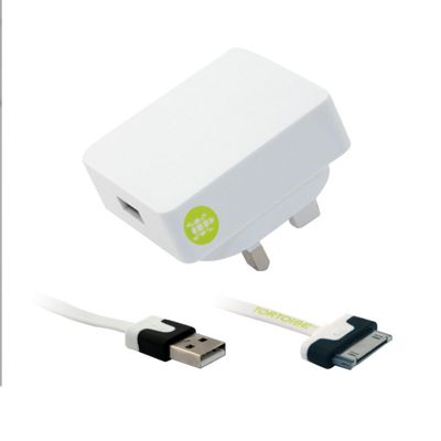 Tortoise™ Look Mains Charger White Apple 30-pin