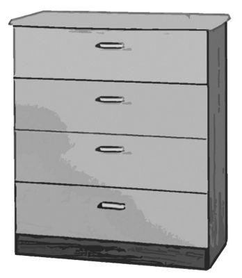 Welcome Furniture Mayfair 4 Drawer Chest - Light Oak - Ebony - Ebony