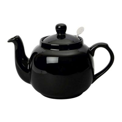 London Pottery Traditional Farmhouse 4 Cup Ceramic Filter Teapot in Gloss Black
