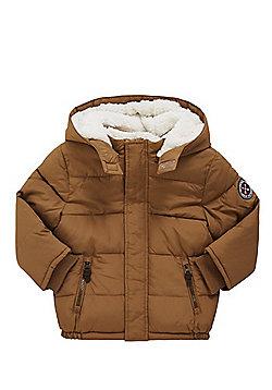F&F Fleece Lined Puffer Coat - Tan