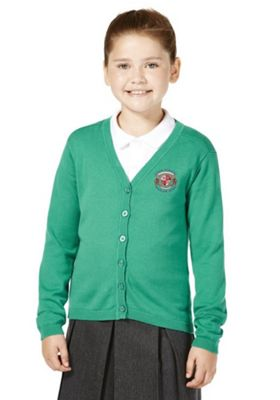 Unisex Embroidered Scallop Edge School Cotton Cardigan with As New Technology 8-9 years Jade green