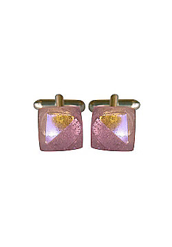 Titan Pink Pate de Verre Glass Cufflinks by Connell and Hart