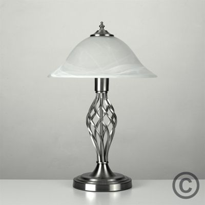 Memphis Twist Table Lamp, Brushed Chrome & Frosted Alabaster Shade