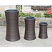 Hand Woven Tall Rattan Flower Pots - Set Of 3
