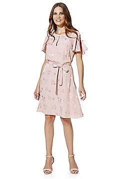 F&F Floral Jacquard Belted Tea Dress - Rose pink