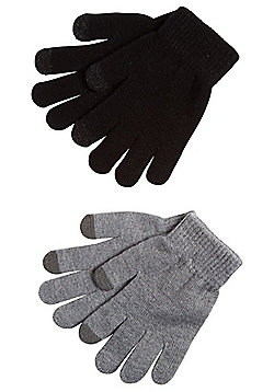 F&F 2 Pair Pack of Touch Screen Magic Gloves - Black