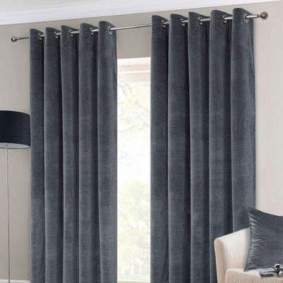 Dark Grey Interlined Velvet Thermal Eyelet Curtain Pair, 90 x 54