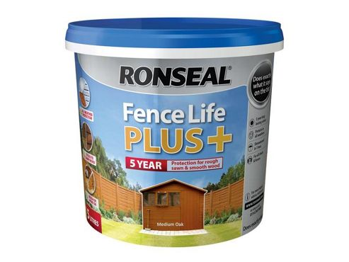 Ronseal RSLFLPPMO5L 5 Litre Fence Life Plus Paint - Medium Oak