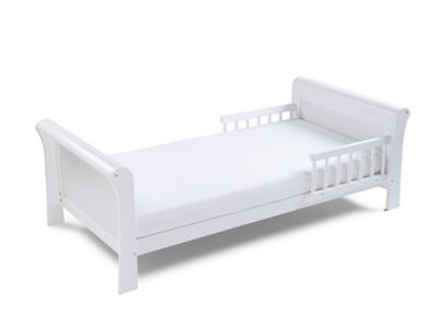Poppys Playground Grace Sleigh-White Junior Toddler Bed & Deluxe Sprung Mattress