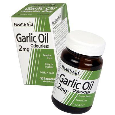 HealthAid Garlic Oil Odourless 30 Veg Capsules 2mg