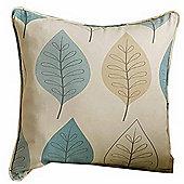 Homescapes Cotton Duck Egg Blue Filled Cushion Leaf Design 43 x 43 cm