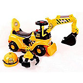 RideonToys4u 2-in-1 Ride on Toy Digger Excavator Grabber Bulldozer With Helmet