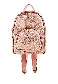F&F Glitter Metallic Mini Backpack Pink One Size