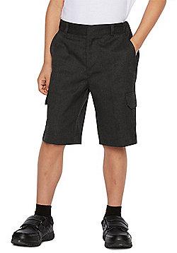 F&F School 2 Pack of Boys Stain Resistant Combat Shorts - Dark grey