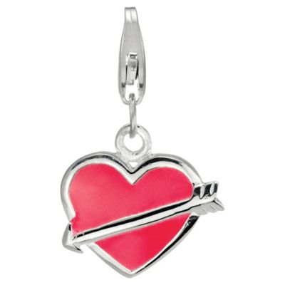 Sterling Silver Enamel Heart & Arrow Charm