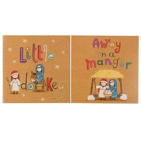 Tesco Cute Nativity Christmas Cards, 12 Pack