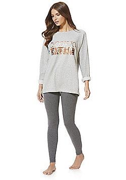 F&F Choose To Snooze Slogan Pyjamas - Grey