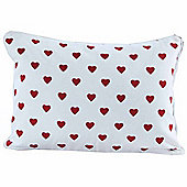 Homescapes Cotton Red Hearts Scatter Cushion, 33 x 45 cm