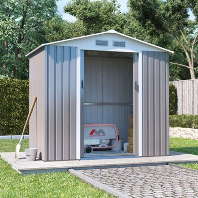 BillyOh Boxer Apex Metal Shed Garden Storage 7 x 4 Grey