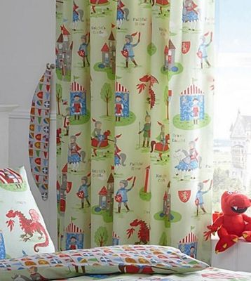 Knights Curtains 54s - Castles, Dragons, Shields, Medieval