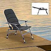 Outsunny Aluminium Folding Camping Chair Fishing Padded Seat w/ Adjustable Leg (Dark Green)