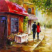 Cafe Scene Printed Canvas 48cm x 48cm