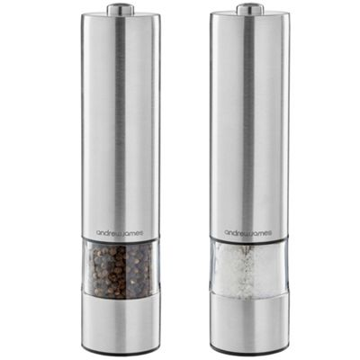 Andrew James Electronic Salt & Pepper Mill Set - One Touch Illuminated Grinding - Silver