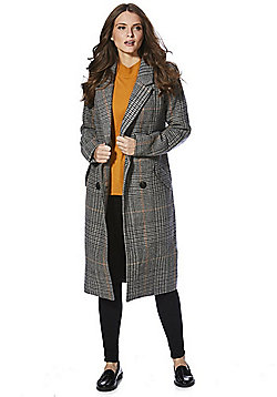 Vila Dogtooth Check Double Breasted Coat - Grey