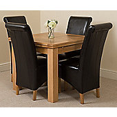 Richmond Solid Oak Extending 90 - 150 cm Dining Table with 4 Black Montana Leather Dining Chairs