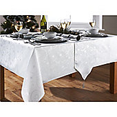 Hamilton McBride Christmas Streamers White & Silver Oblong Tablecloth - 132x178cm (52x70')