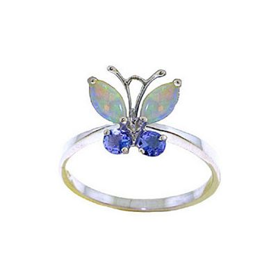 QP Jewellers Tanzanite & Opal Butterfly Ring in 14K White Gold - Size R 1/2