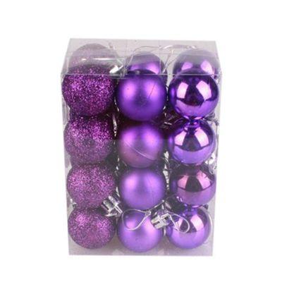 Purple Decorated 3cm Bauble Decorations (Set of 24) by Premier