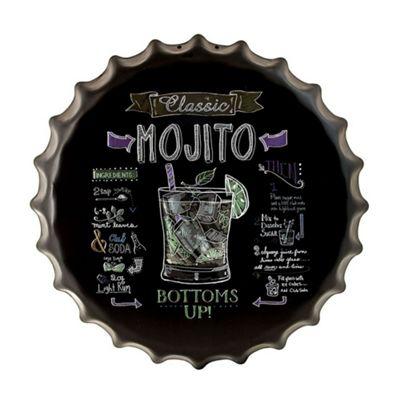 Retro Classic Mojito 'How To' Metal Bottle Cap Wall Art - Black
