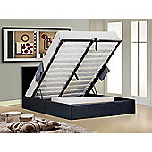 """Ottoman Stylish Black Faux Leather Gaslift Storage 4ft6 Double Bed with 10"""" Supreme Memory Foam Mattress"""