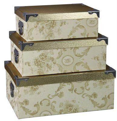 Set of 3 Bronze and Gold Blossom Storage Boxes